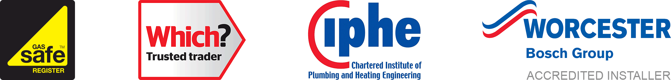 We're accredited by Which?, Gas Safe Register, CIPHE and Worcester Bosch